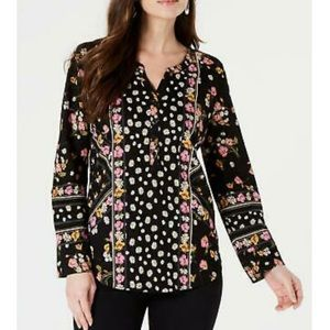 Style & Co boho floral printed split neck blouse